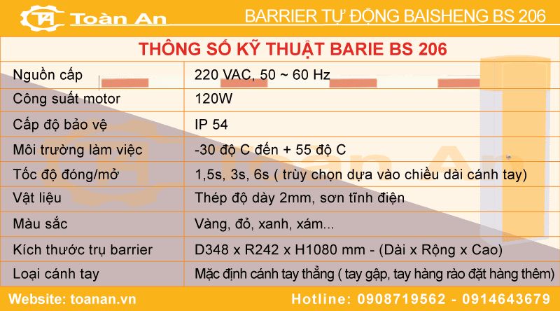 Thông số kỹ thuật của barrier tự động bs 206.