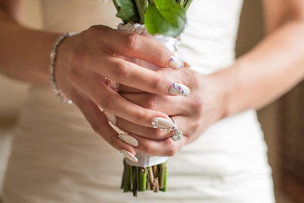 wedding nails with gem 2