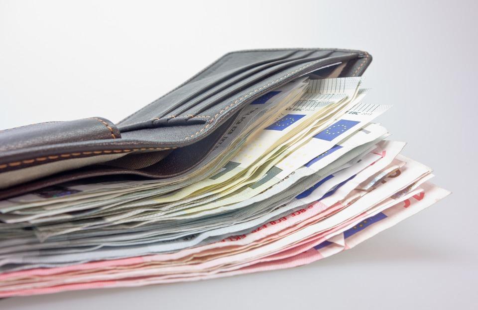 お金, 財布, 紙幣, ユーロ, 革, メンズ財布, 男性の財布, レザーグッズ, 汚れた金, 年金, 保護区