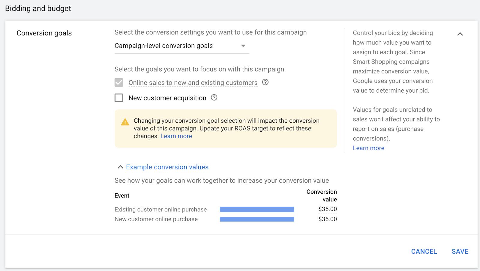 Google smart shopping new vs returning customers