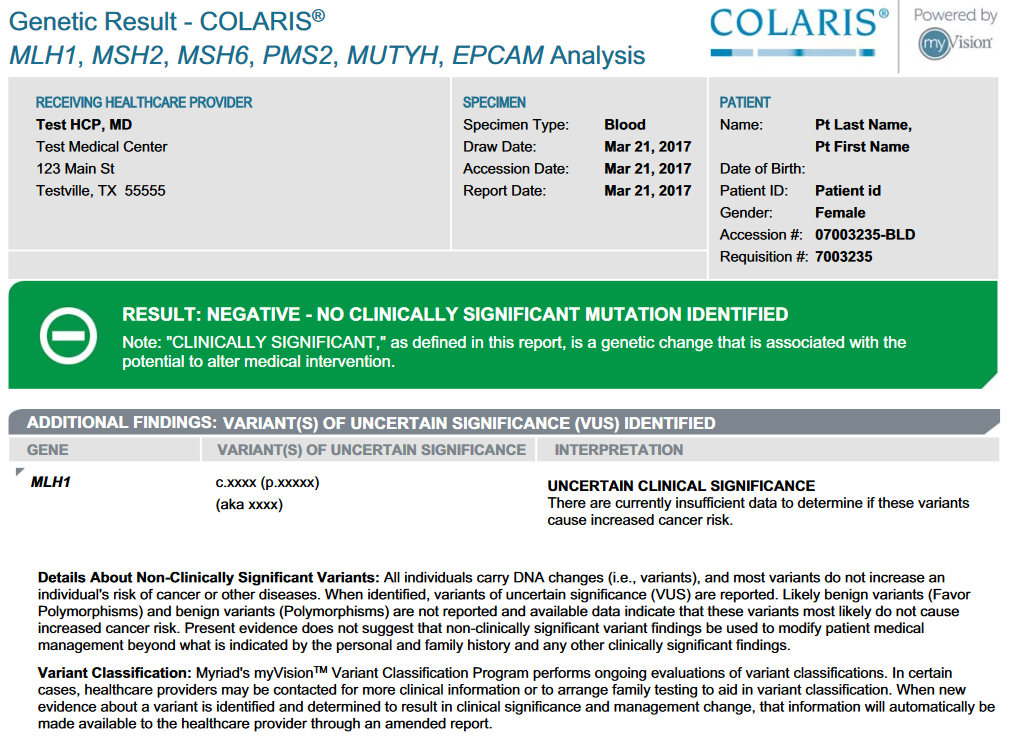 The first page of a Myriad Genetics Colaris genetic test showing negative results.