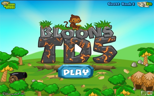 Bloons in this tower defense game pop as many bloons as you can by