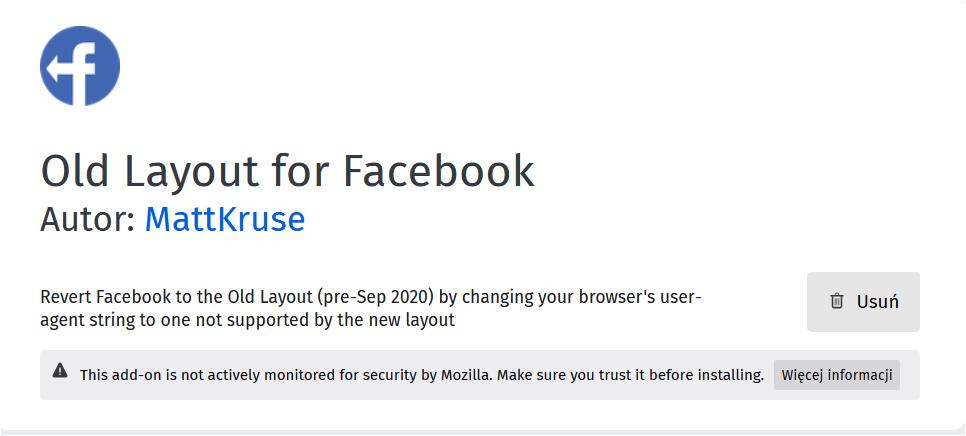 rozszerzenie dozmiany facebooka