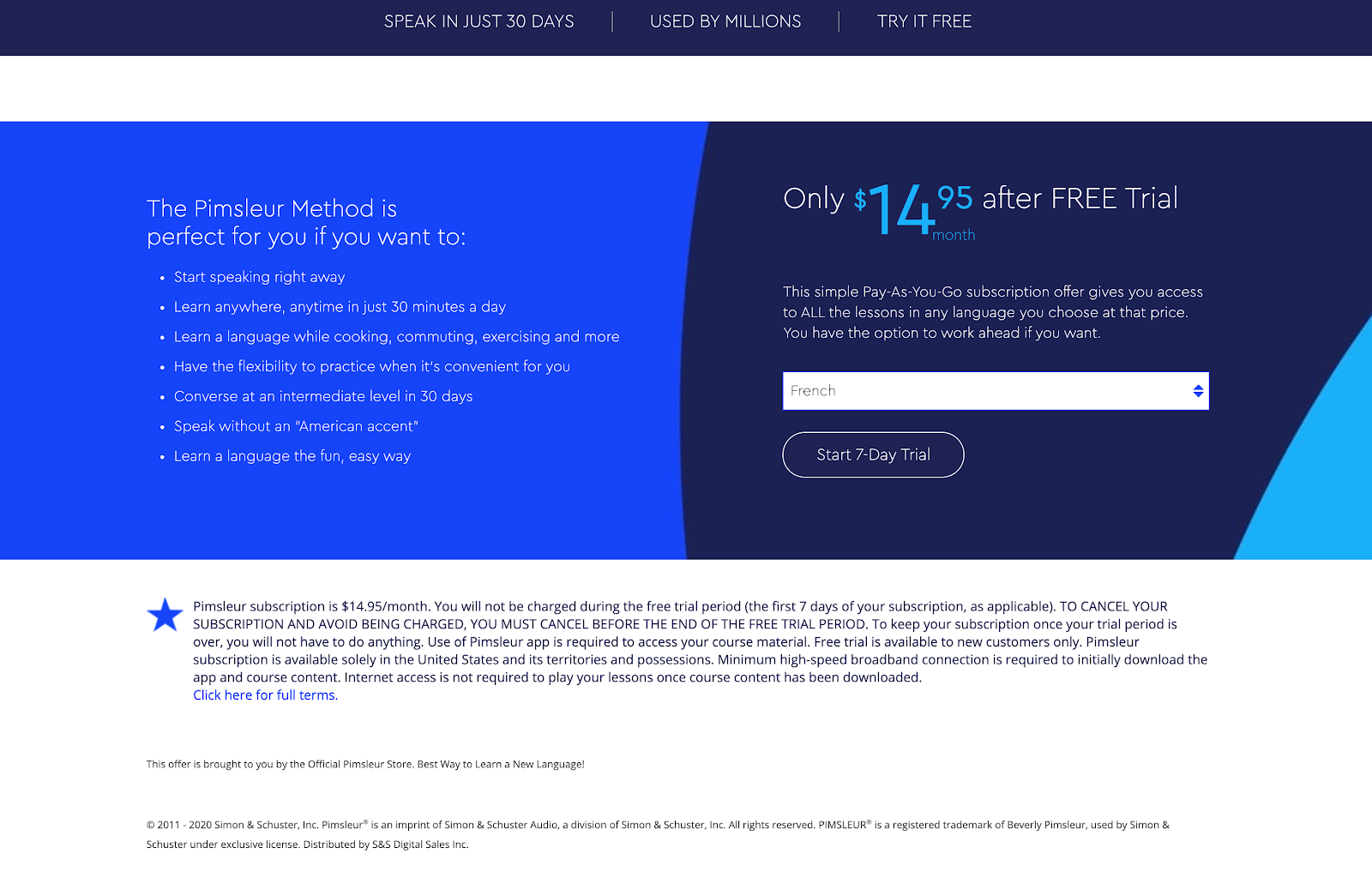 Select your plan to begin the Pimsleur Free Trial.