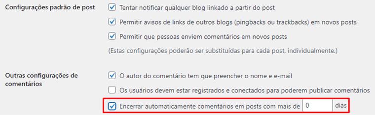 configuração para apagar comentários de posts antigos no wordpress