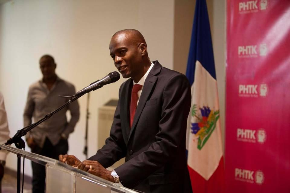 Presidential candidate Jovenel Moise, from the PHTK party, speaks during a press conference in Port-au-Prince, Haiti, Monday, Jan. 4, 2016. A commission that evaluated Haiti's contested presidential election said Monday that the large majority of the irregularities it found in first-round voting were due to widespread ineptitude by poll workers.