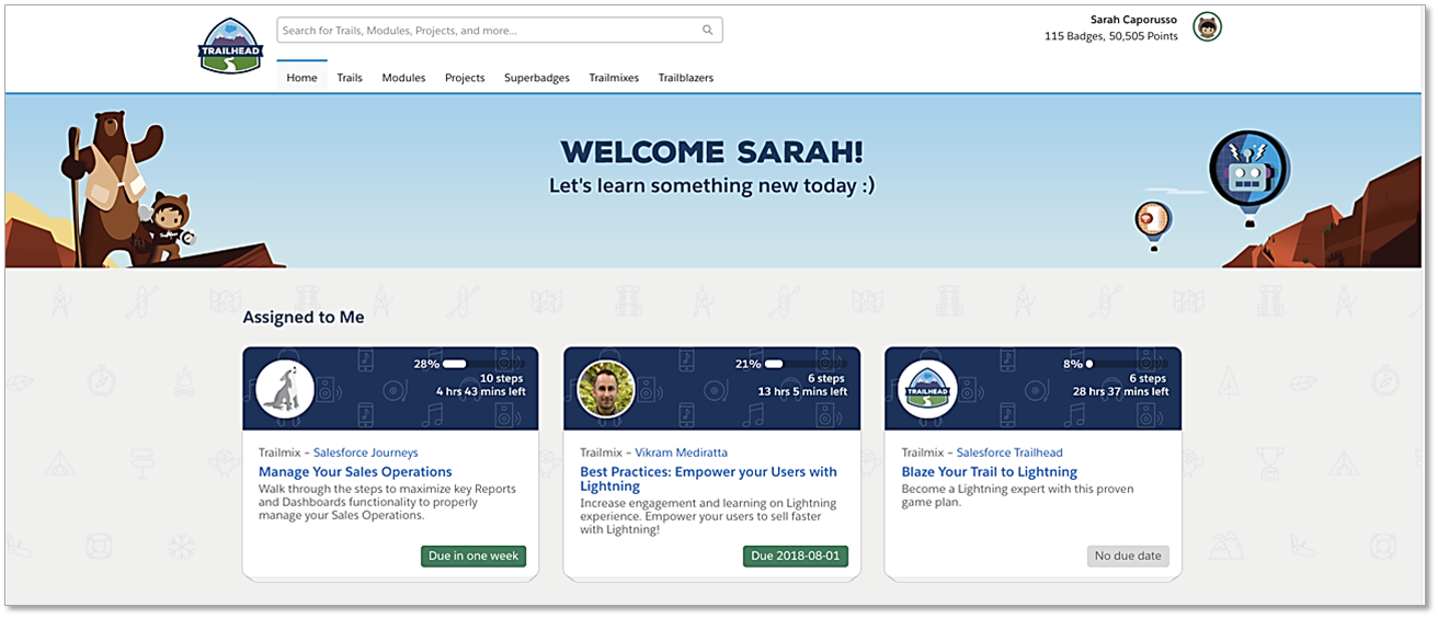 Sarah's Trailhead home page displays three trailmixes assigned to her]