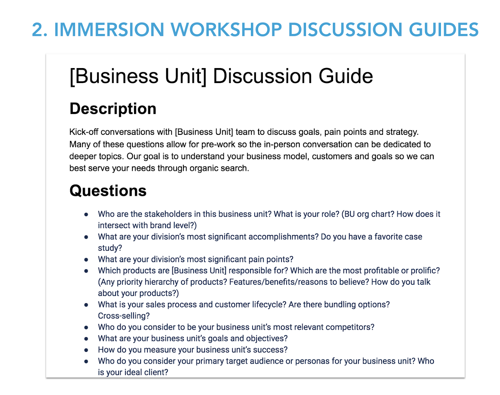 Immersion workshop discussion guide