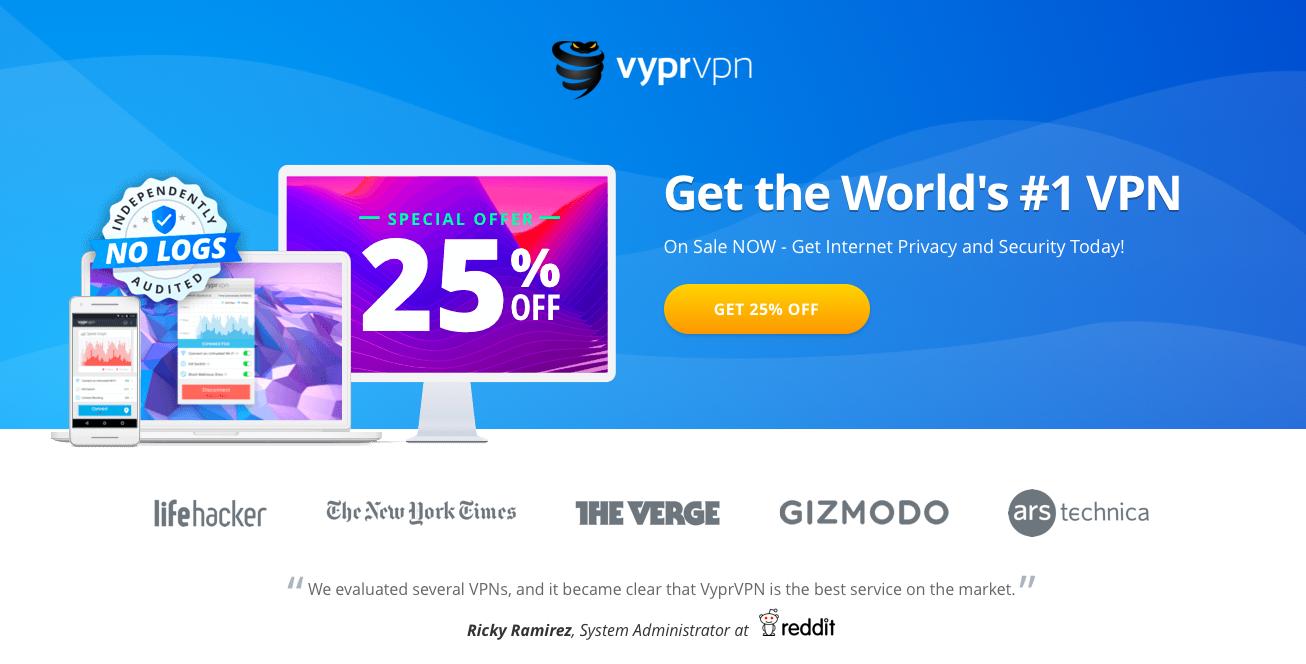 VyprVPN's homepage