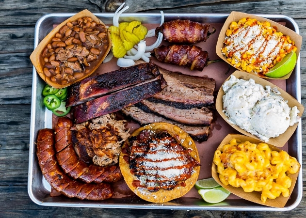 Barbecue and sides from Hurtado Barbecue in Arlington, TX.