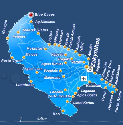 Blue Caves Zakynthos Map