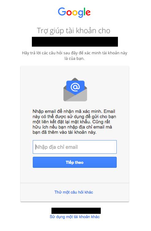 Điền email  liên kết vào để khôi phục tài khoàn Gmail