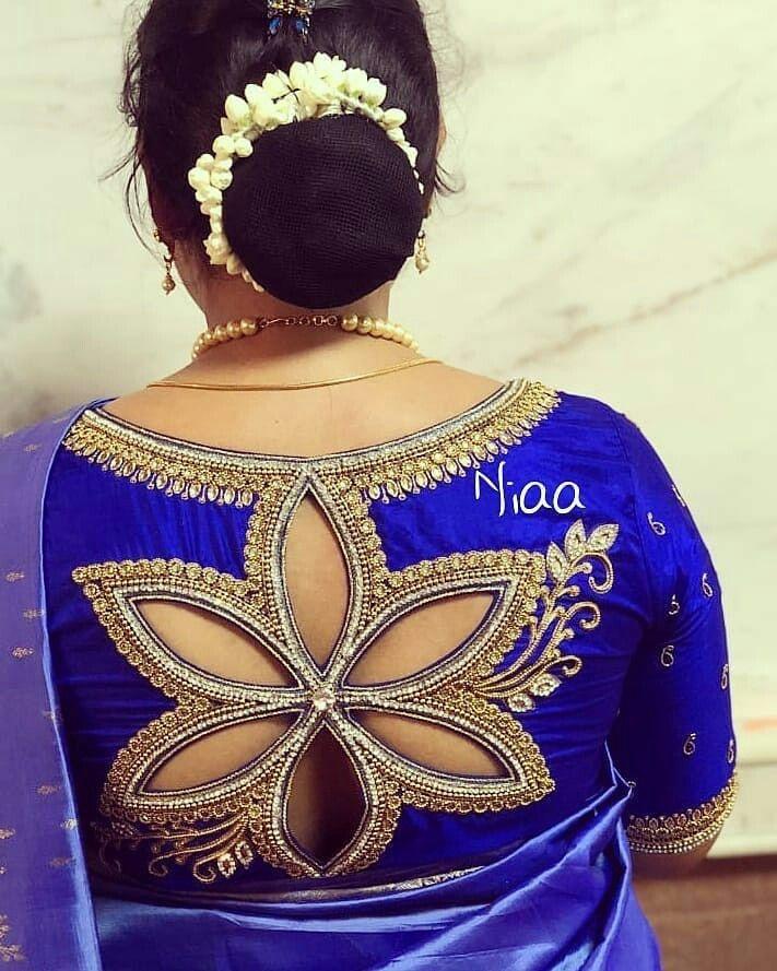 Flower Cut out blouse back design