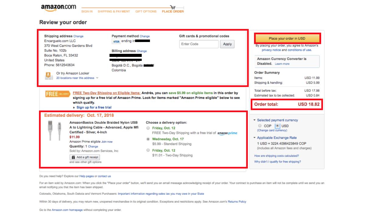 informacion de Compras en Amazon desde Colombia