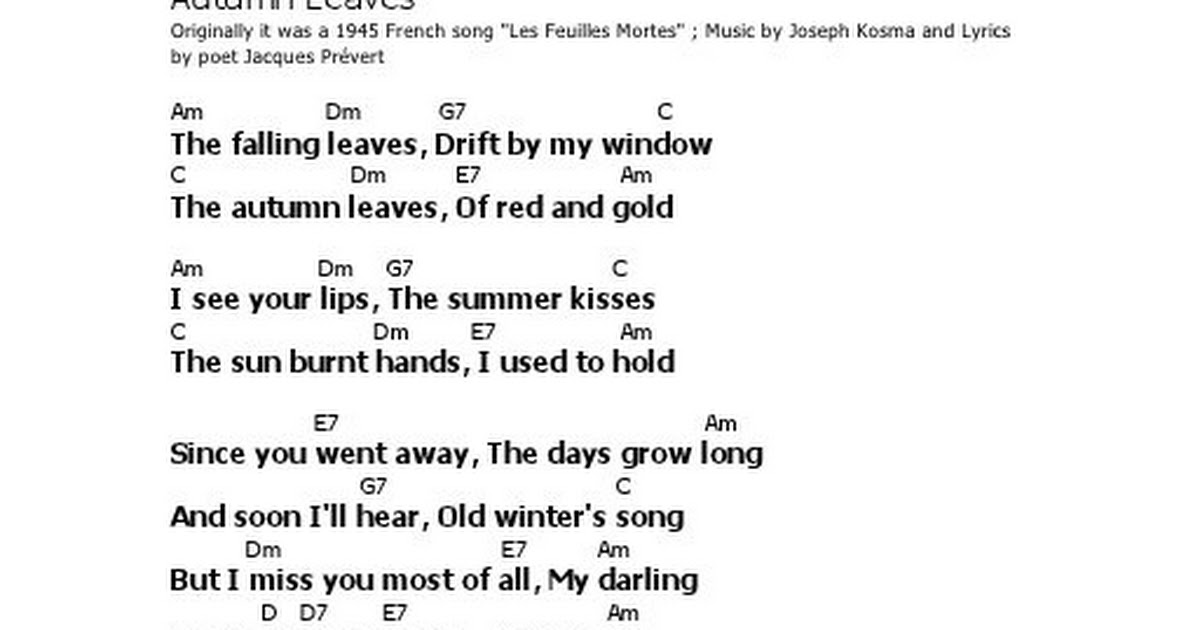 Lyric Lyrics To Autumn Leaves Lyrics To Or Lyrics To Autumn
