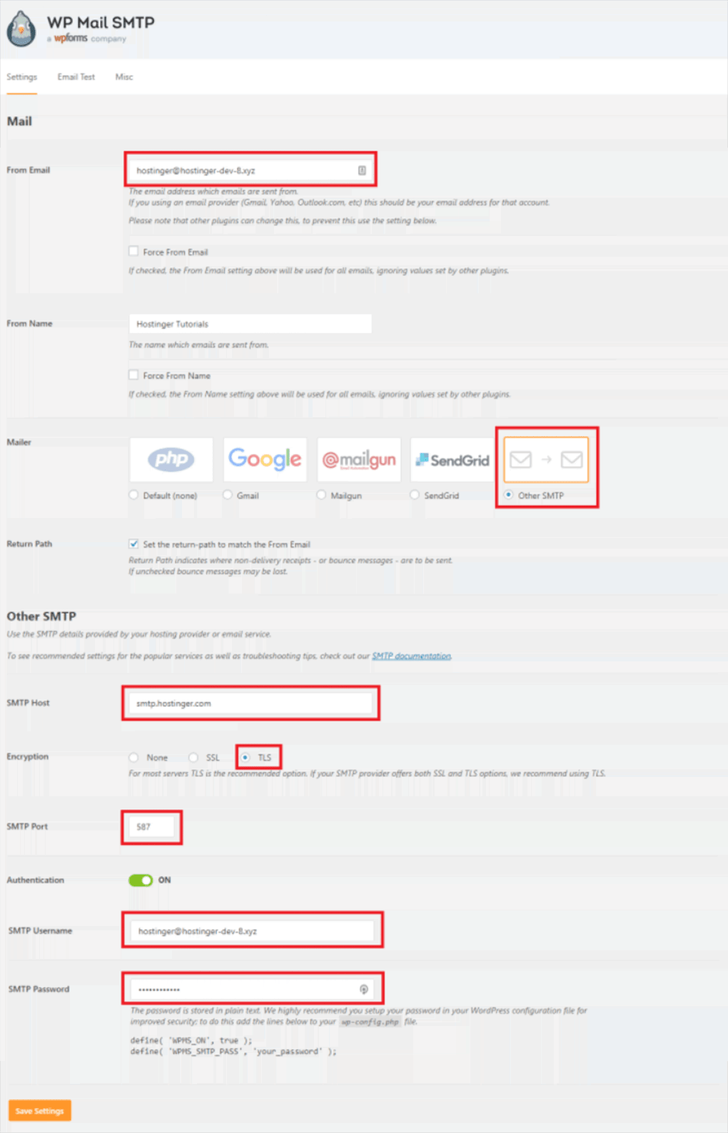 preenchimento dos dados de email no plugin wp mail smtp do wordpress