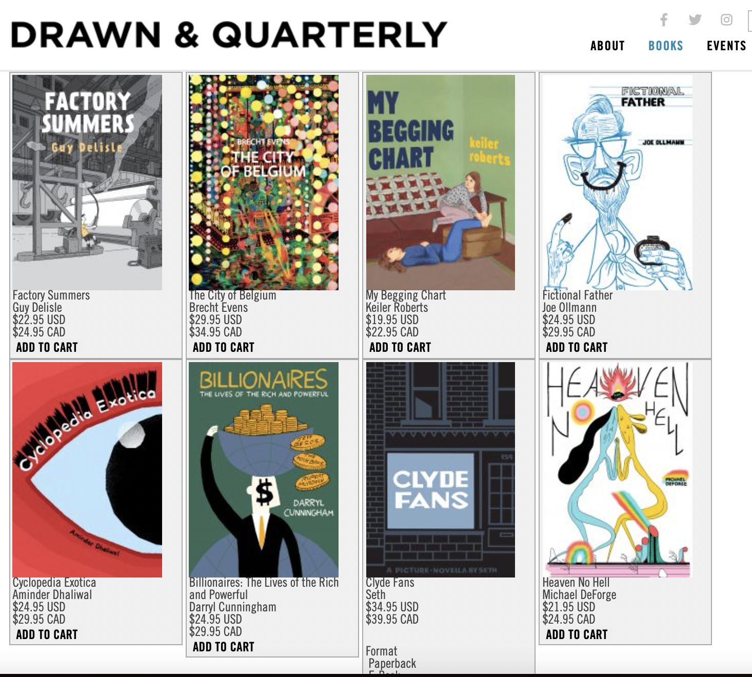 Drawn and Quarterly Books Product Shopping Page