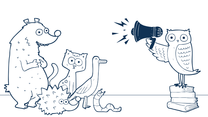 Cartoon owl using a megaphone to attract a crowd