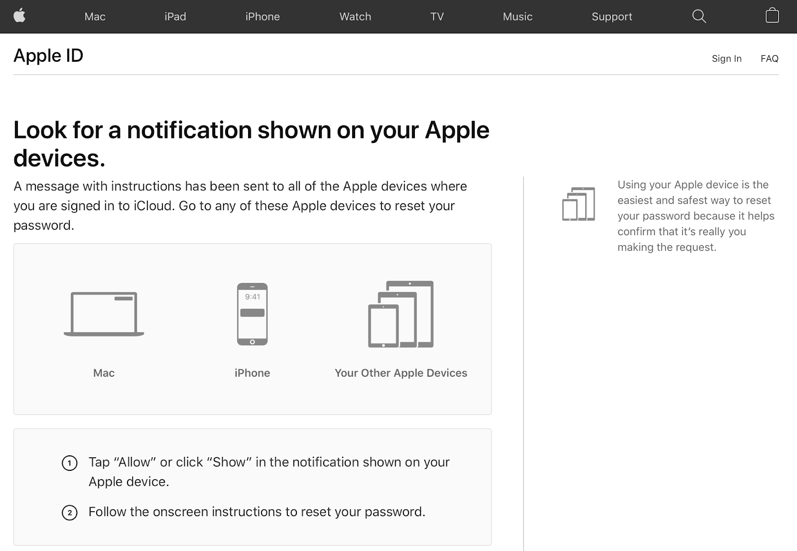 Follow the on-screen instructions shown on your Apple device