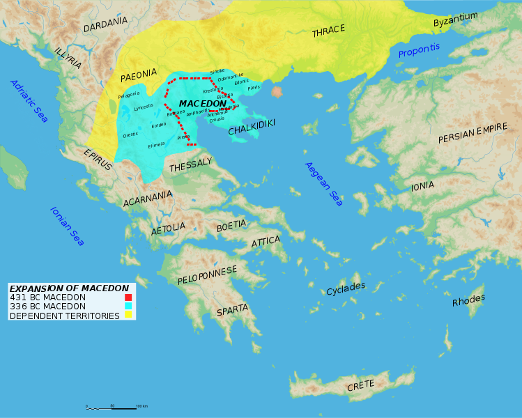 Map of Macedon's expansion across Thrace and the Balkans, before the invasion of Greece.