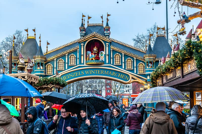 Cologne has one of the best Christmas markets in Europe. Here, people brave a light drizzle to enjoy the city's popular Heinzels Wintermarchen.