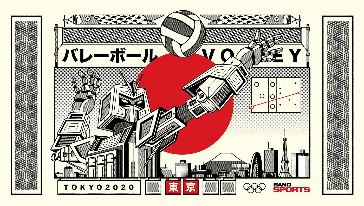 japan sports japanese tokyo Tokyo2020 ArtDirection ILLUSTRATION  graphicdesign Olympics olympics2020