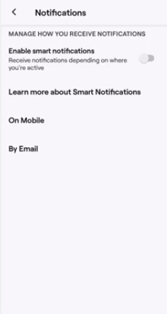 turn off twitch smart notifications