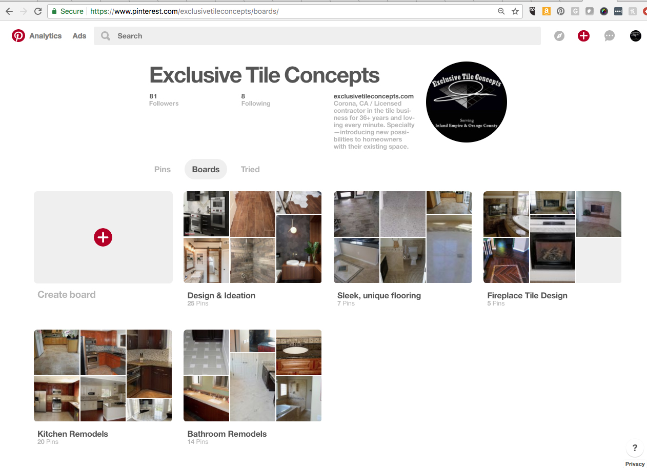 Screenshot of Pinterest business account