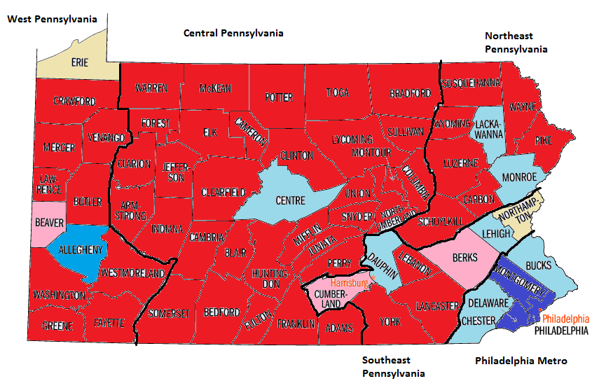 Pennsylvania County map actual.png