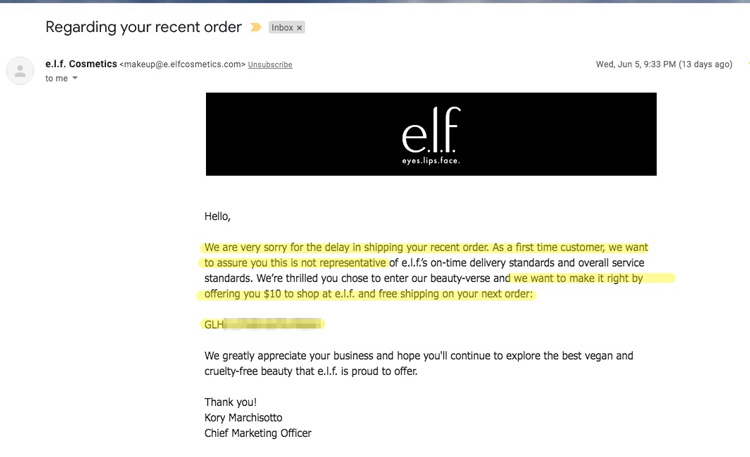 e.l.f. shows how to increase customer loyalty through an email apology