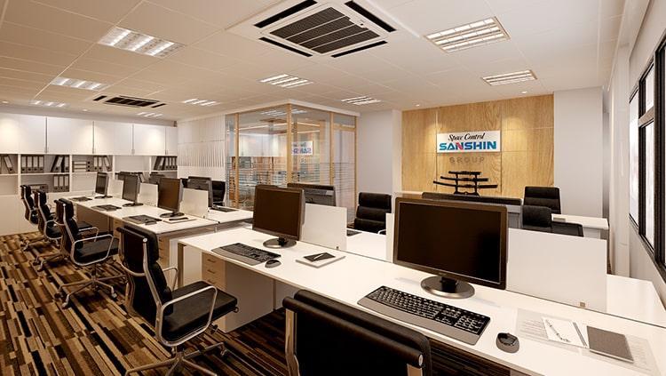 Thiết kế nội thất phòng CEO không gian làm việc chung