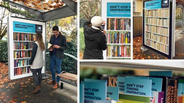 Bus stop transformed into a mini community bookshelf