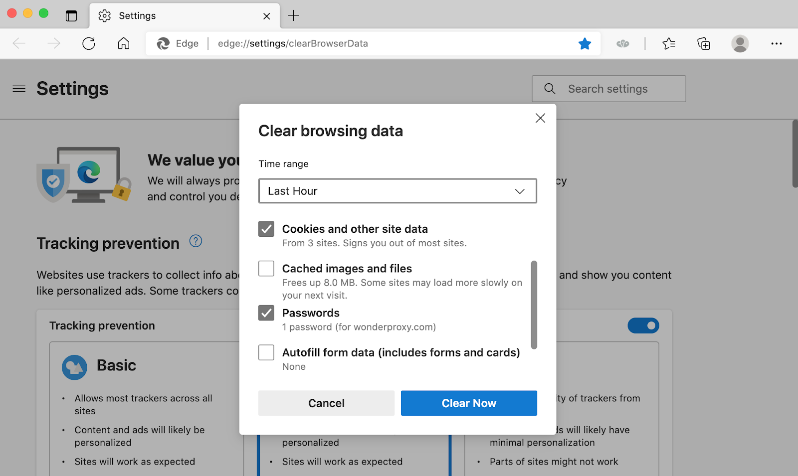 Edge's Clear Browsing Data modal with Cookies and Passwords checkboxes selected