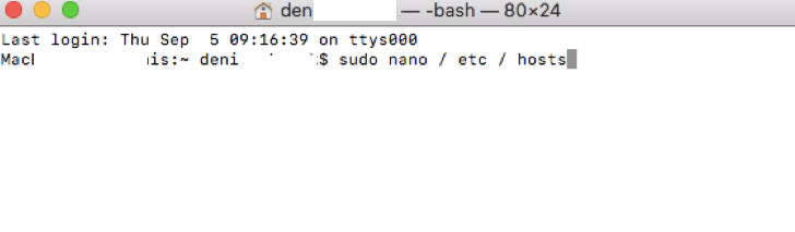 "Enter the following command to open the file: sudo nano /private/etc/hosts and click ""Return"" - Mac"