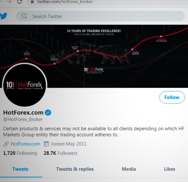Twitter account of HotForex