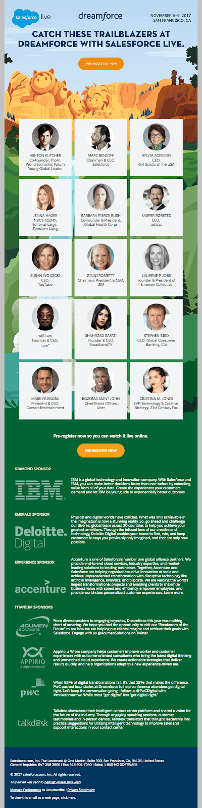 Dreamforce event invitation email design