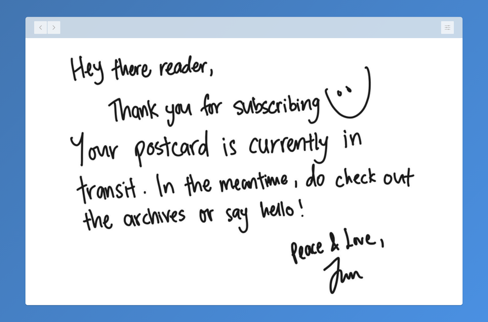 Personalized Welcome Note For Newsletter