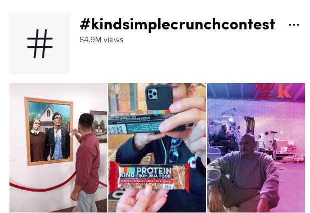Kind's #Kindsimplecrunchcontest TikTok posts
