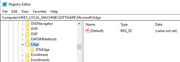 The Edge browser directory in Registry Editor