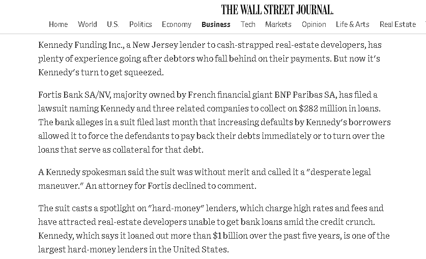 Kennedy Funding Financial another lawsuit