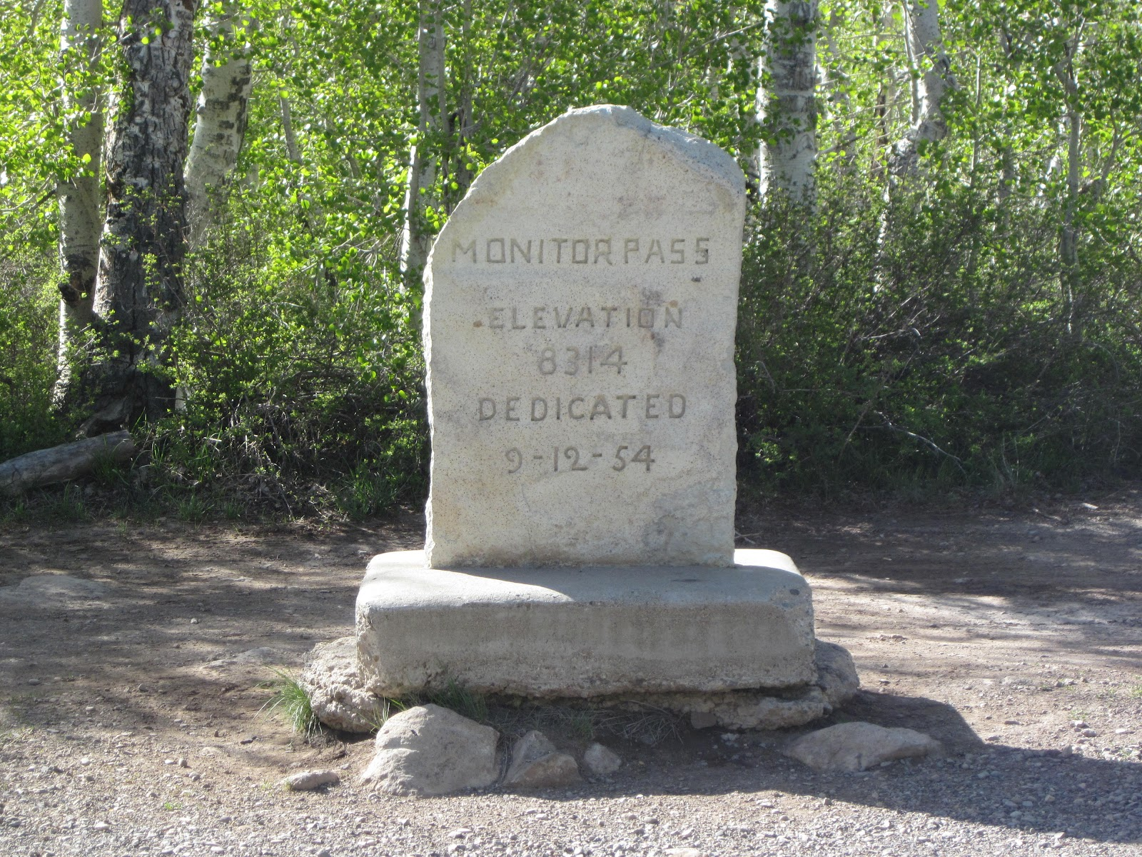 Bicycle climb of Monitor Pass East  - Summit Marker and monument at pass