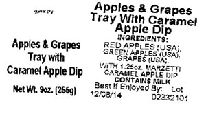Label, Apples & Grapes Tray with Caramel Apple Dip, 9 oz