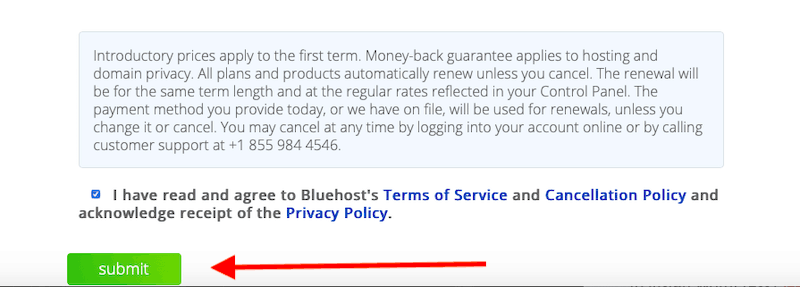 Bluehost Signup process complete