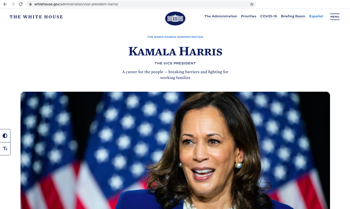 screenshot of the White House website in its original language