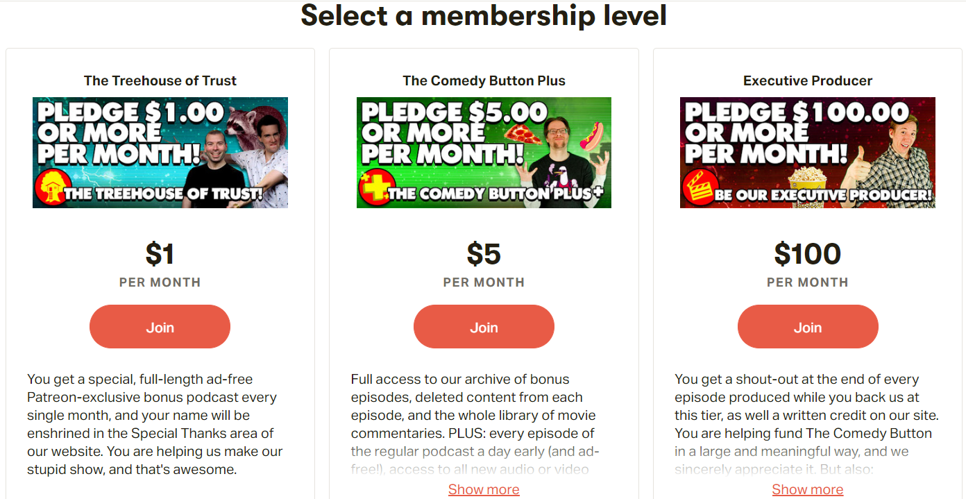 Comedy Button's Patreon Membership for Fans