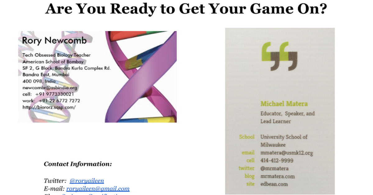 Gamification 101 ISTE 2014