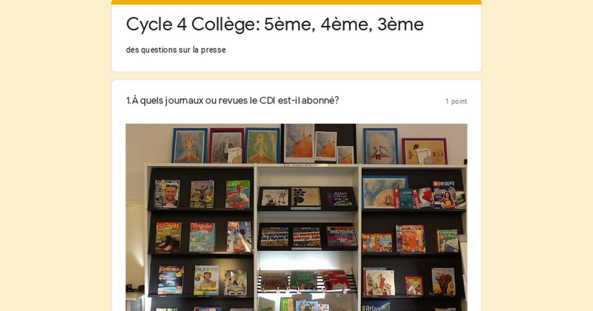 Cycle 4 Collège: 5ème, 4ème, 3ème