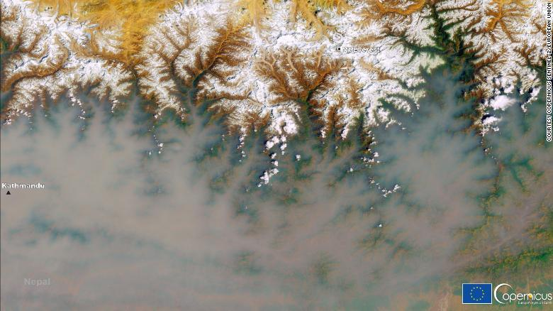 This satellite image, acquired by one of the Copernicus Sentinel-2 satellites on March 28, shows the region near Kathmandu engulfed in smoke.