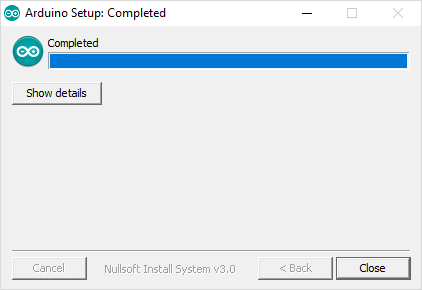 This is a screenshot of a computer showing a completed Arduino setup.